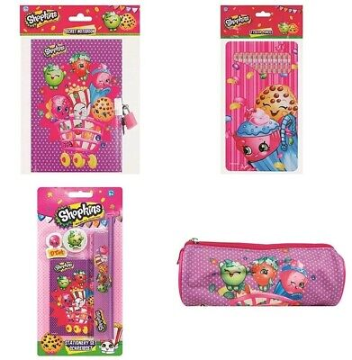 Shopkins Stationary Gift Set Pencil Case Note Book Colouring Pencils School Girl