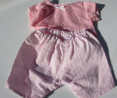 """Corolle Doll Pink Plaid Pants Set Outfit 12"""" Toddler Outfit Retired"""