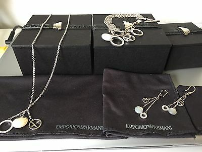 emporio armani silver jewellery set necklace ear rings and bracelet