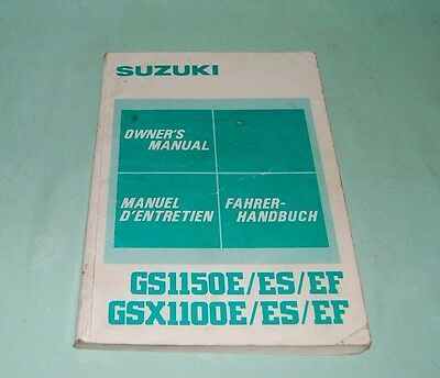 SUZUKI Owners Manual GS1150E / ES / EF   GSX1100E / ES / EF