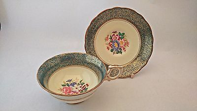RARE Hammersley 2374 Rose & Florals w/ Turquoise & Gold Daisy Print Cup & Saucer