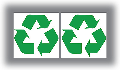 2 x Recycle Recycling Stickers Logo Symbol Vinyl Bin Stickers
