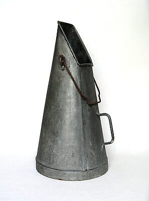 Rare Tall Vintage French Galvanized Zinc Coal Scuttle Bucket with Handles