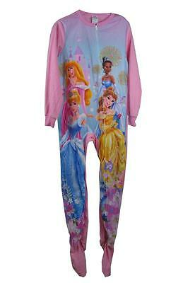 J12a  Disney Princess Girls Size 7 8 Footed Sleepsuit Fleecy Pyjamas Sleepwear