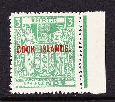 COOK ISLANDS 1943-54 £3 GREEN INVERTED WATERMARK SG 135w MNH.