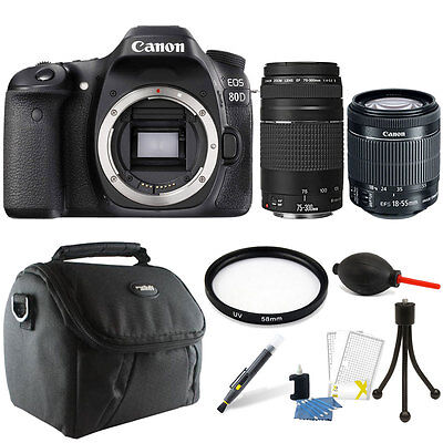 Canon EOS 80D 24.2MP Digital SLR Camera +18-55mm + 75-300mm Lens + 64GB Kit