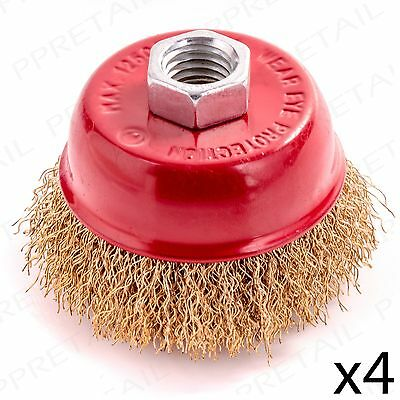 4 x CRIMP BRASS WIRE CUP BRUSH 65mm REMOVES RUST & PAINT M14 Thread Rotary Wheel