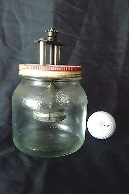 Vintage Shedd's Peanut Butter Jar Modified with Unusual Apparatus - Unique