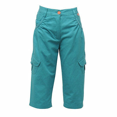 Regatta Moonshine Girls  Cotton Multi Pocketed Capri Trousers Blue