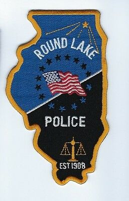 Round Lake (Lake Co.) IL Illinois Police Dept. patch - NEW! *STATE SHAPED*