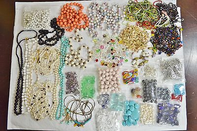 Huge 3+ lbs Mixed Lot Vintage Beads for Repair, Glass Pearl Crystal Millefiori