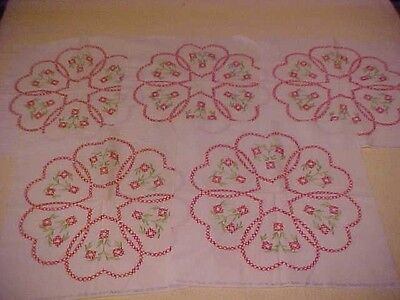 5 Vintage Embroidered Quilt Blocks w/ Red Hearts & Flowers
