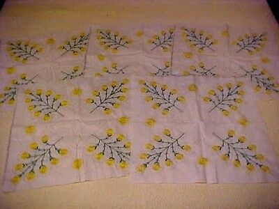 5 Vintage Embroidered Quilt Blocks w/ Yellow Flowers