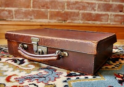 Antique English Leather Small Suitcase Briefcase Attache Documents Case VTG