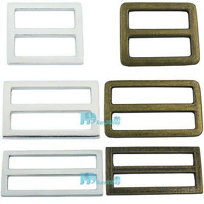 "Metal Adjustor Slides Leather Belt strap Webbing Buckles 1"" 1.5"" 2""  25 38 50mm"