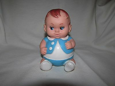 """Vintage 1968 Uneeda Doll Co. Rubber Squeaky Boy Toy Doll Blue Outfit 6"""""""