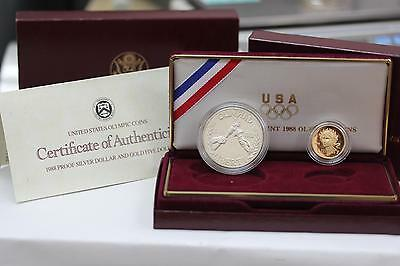 1988 Olympic Five Dollar Gold And Silver Dollar Proof Coin Set w/ COA and BOX