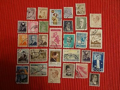 Turkey / Turkiye - 30 Different Used Turkish Stamps, Mostly Old And Unsorted