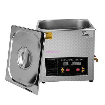 Stainless Steel 15L Ultrasonic Cleaner Industry Heater Heated Cleaning w/ Timer