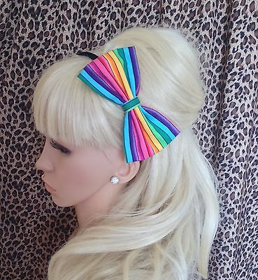 """NEW WHITE PINK UNICORN PRINT COTTON FABRIC 5/"""" SIDE BOW ALICE HAIR HEAD BAND GIRL"""