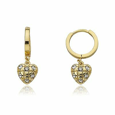 Girls Earrings Jewelry Gift Yellow Gold Plated Crystal Quilted Heart Dangle