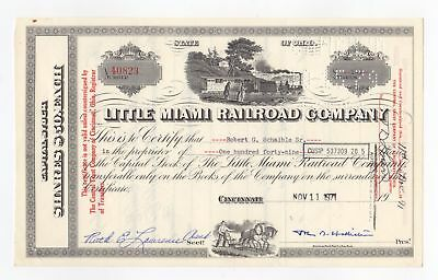 Little Miami Railroad Company Stock Certificate