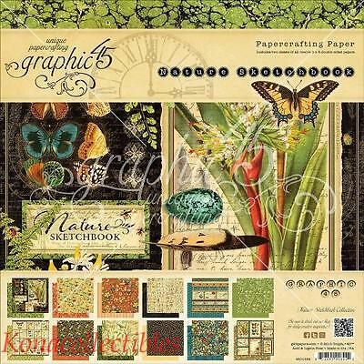 Graphic 45 Nature' Sketchbook 8 x 8 Paper Pad 24 Pages Butterflies, Ferns, More!