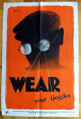 Original WW2, Rare 2-Sided Pat Keely Poster: Wear Goggles & Bottleneck=Accidents