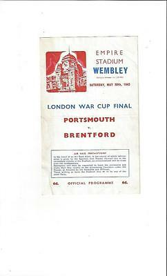 Portsmouth v Brentford London War Cup Final Football Programme 1942 + Ticket
