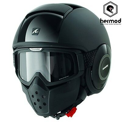 Shark Raw/Drak Open Face Motorcycle Helmet with Goggles & Face Mask - Dual Black