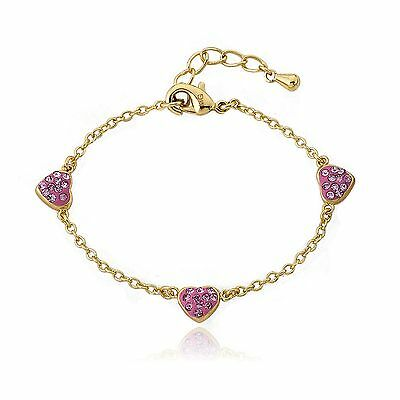 """Girls Bracelet Fashion Jewelry 14k Gold-Plated Crystal Heart Chain Pink 5.5"""""""