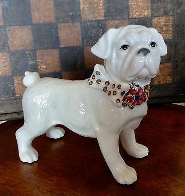 Vintage Pug Dog Figurine White Porcelain with Jewelled Collar