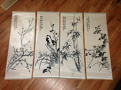 """4 Fine Vintage Hand Made Chinese Silk Embroidery Panels, 40"""" X 13.5"""". Mint"""