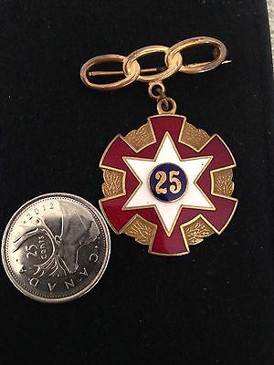 Vintage IOOF Odd Fellows Brass And Enamel 25 Year Pin Metal Presented In 1948