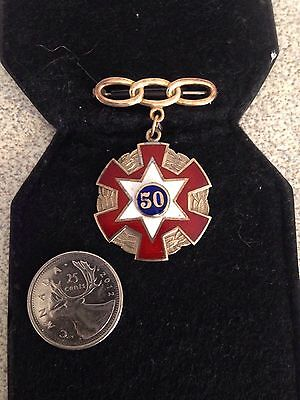 Antique IOOF Odd Fellows 10kt Gold And Enamel 50 Year Pin Metal Presented Twice