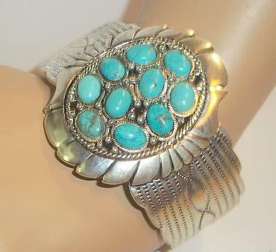 Beautiful Southwestern Turquoise and Silver Cuff Bracelet