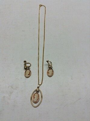 Vintage Van Dell 1/20 12K Gold Filled Cameo Pendent & Matching Screwback Earring