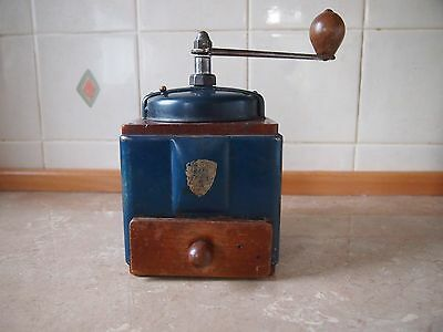 FRENCH c1940s/50s PEUGEOT FRERES COFFEE GRINDER METAL /WOOD