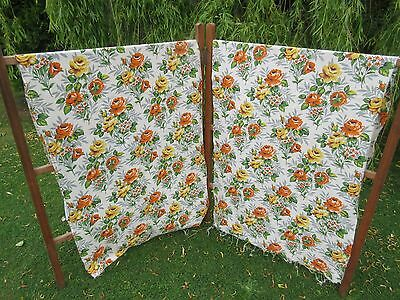 Vintage retro floral orange & yellow curtain fabric 2 lengths .,