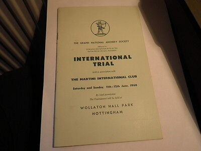1960 Grand National Archery Soc International Martini Trials Programme Wollaton