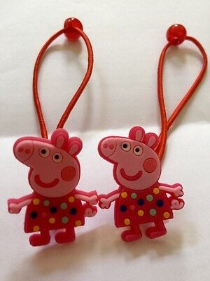 2 X Peppa Pig Hair BANDS/BOBBLES/CLIPS,Birthday Bag Fillers,Accessories toy doll