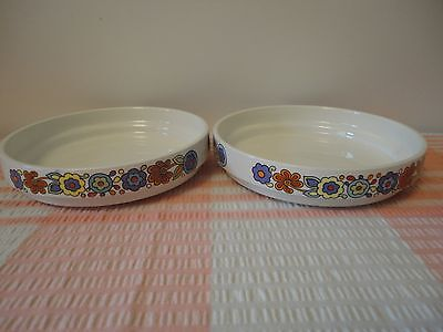 Mid Century Vintage Lord Nelson Pottery Gaytime 2 x Shallow 14.5cm Bowls Stands