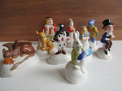 Rare  Set Of Wade Alice In Wonderland 9 Items All Characters Perfect And Boxed