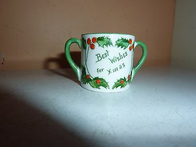 Adderley China 3.4Cm Two Handled Loving Cup With Xmas/auld Lang Syne/holly Image