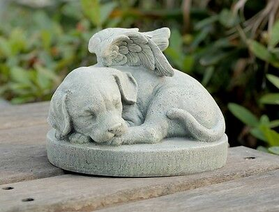 Pet Marker Angel Dog Stone Sleeping Memorial Garden Remembrance Decor