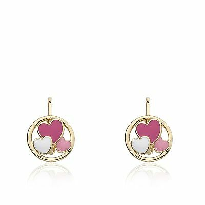 LMTS Girls 14K Gold Plated Leverback Earrings With Cut Out Enamel Hearts Disc