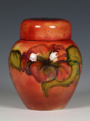 Rare Miniature Moorcroft Pottery Brandy Flambé 'Hibiscus' Ginger Jar and Cover.
