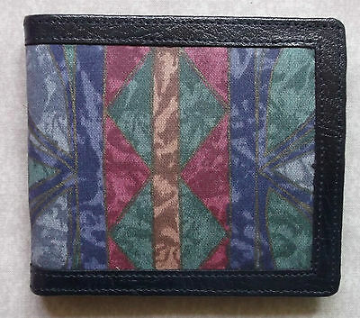 New Wallet Leather Handmade In England Mod 70S 80S Vintage Abstract Pattern