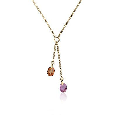 Girls Necklace Fashion Jewelry Lariat  Champagne & Pink Crystal Drop Gold Plated