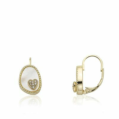 Girls Ear Earrings Fashion JewelryMother Of Pearl Lever-back With Cz Heart